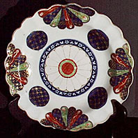 Worcester porcelain Old Japan Fan pattern dish