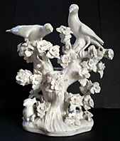 Rare Bow porcelain white glazed Finches figure group